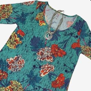 NWT LuLaRoe Lynnae Teal Floral Tunic Top Size Med.